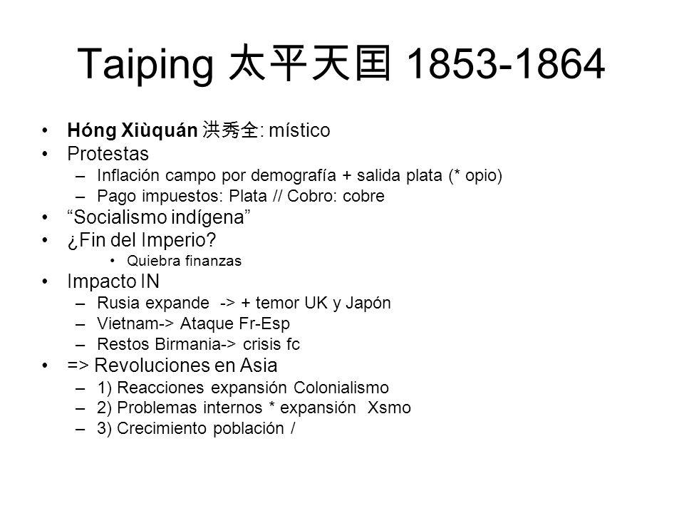 Taiping 1853-1864 Hóng Xiùquán : místico Protestas –Inflación campo por demografía + salida plata (* opio) –Pago impuestos: Plata // Cobro: cobre Soci