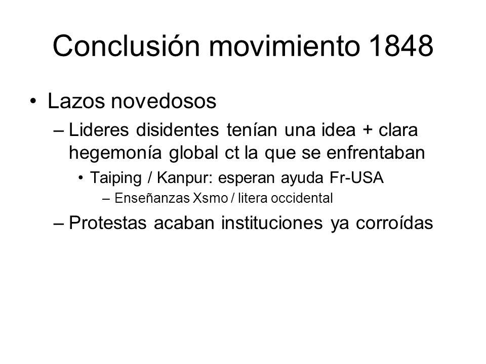 Conclusión movimiento 1848 Lazos novedosos –Lideres disidentes tenían una idea + clara hegemonía global ct la que se enfrentaban Taiping / Kanpur: esp