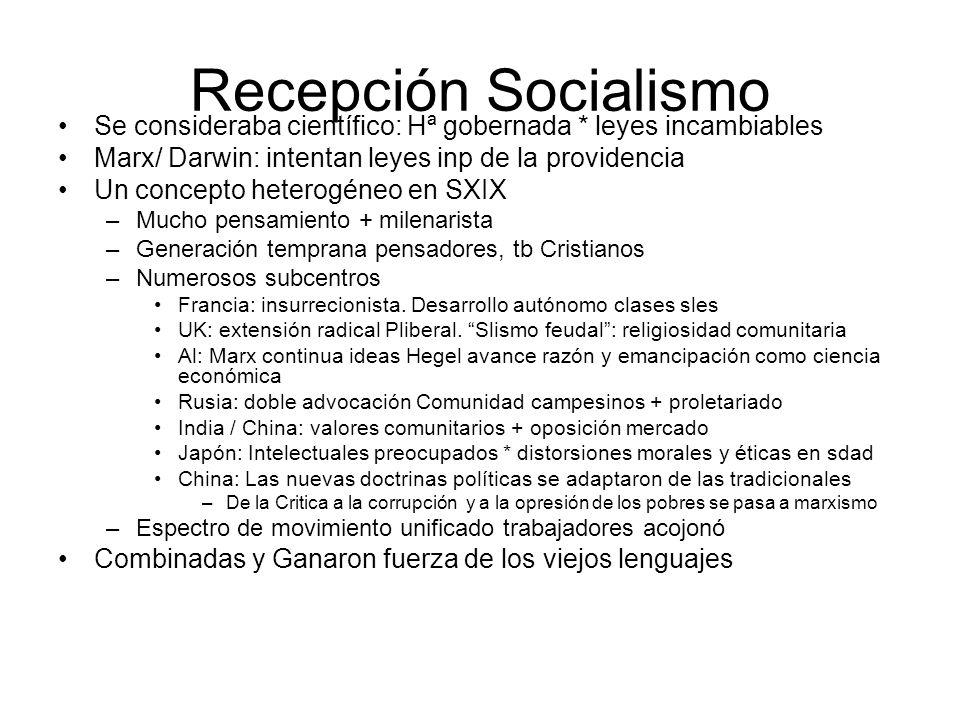 Recepción Socialismo Se consideraba científico: Hª gobernada * leyes incambiables Marx/ Darwin: intentan leyes inp de la providencia Un concepto heter