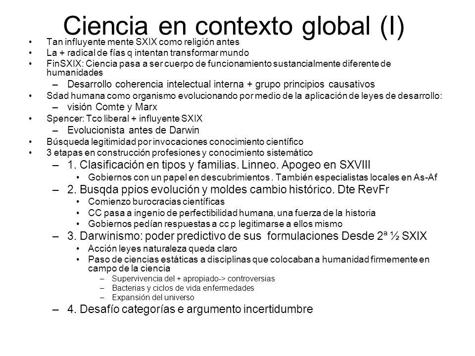 Ciencia en contexto global (I) Tan influyente mente SXIX como religión antes La + radical de fías q intentan transformar mundo FinSXIX: Ciencia pasa a