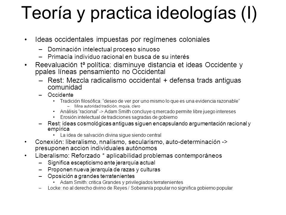 Teoría y practica ideologías (I) Ideas occidentales impuestas por regímenes coloniales –Dominación intelectual proceso sinuoso –Primacía individuo rac
