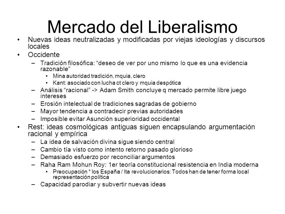 Mercado del Liberalismo Nuevas ideas neutralizadas y modificadas por viejas ideologías y discursos locales Occidente –Tradición filosófica: deseo de v