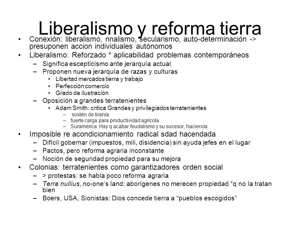 Liberalismo y reforma tierra Conexión: liberalismo, nnalismo, secularismo, auto-determinación -> presuponen accion individuales autónomos Liberalismo: