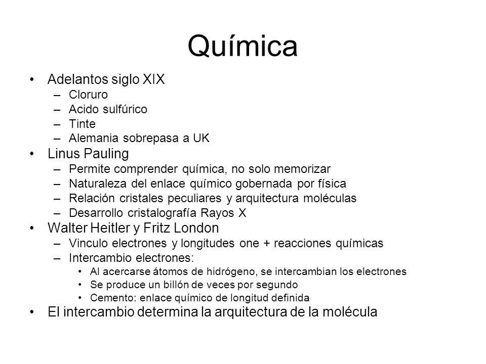 Química Adelantos siglo XIX –Cloruro –Acido sulfúrico –Tinte –Alemania sobrepasa a UK Linus Pauling –Permite comprender química, no solo memorizar –Na