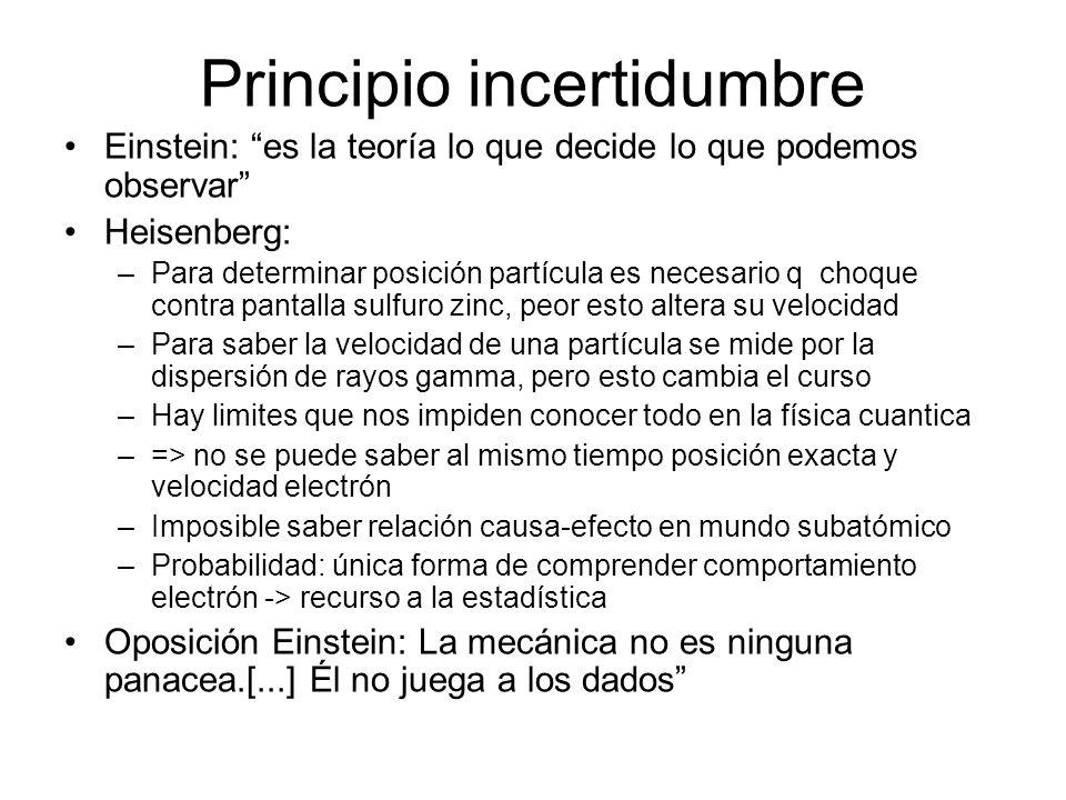 Principio incertidumbre Einstein: es la teoría lo que decide lo que podemos observar Heisenberg: –Para determinar posición partícula es necesario q ch