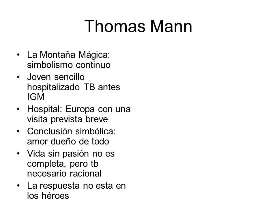 Thomas Mann La Montaña Mágica: simbolismo continuo Joven sencillo hospitalizado TB antes IGM Hospital: Europa con una visita prevista breve Conclusión