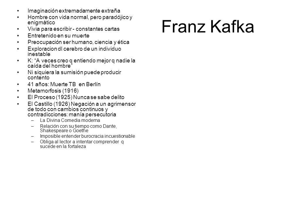 Franz Kafka Imaginación extremadamente extraña Hombre con vida normal, pero paradójico y enigmático Vivia para escribir - constantes cartas Entretenid