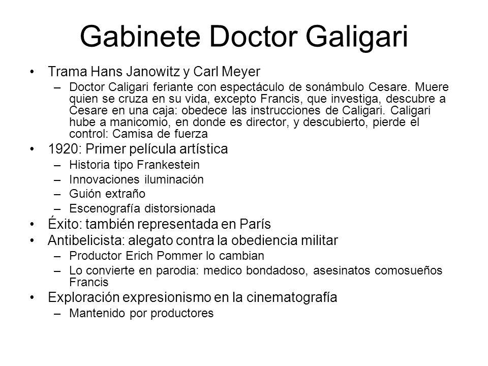 Gabinete Doctor Galigari Trama Hans Janowitz y Carl Meyer –Doctor Caligari feriante con espectáculo de sonámbulo Cesare. Muere quien se cruza en su vi
