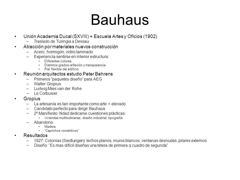 Bauhaus Unión Academia Ducal (SXVIII) + Escuela Artes y Oficios (1902) –Traslado de Turingia a Dessau Atracción por materiales nuevos construcción –Ac