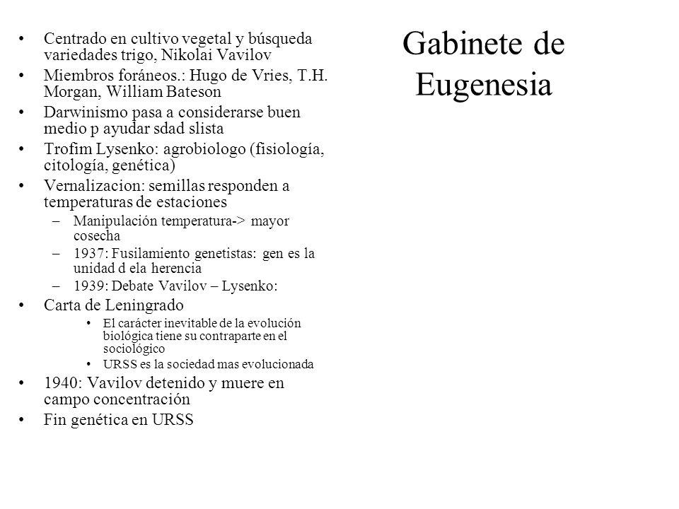 Gabinete de Eugenesia Centrado en cultivo vegetal y búsqueda variedades trigo, Nikolai Vavilov Miembros foráneos.: Hugo de Vries, T.H. Morgan, William
