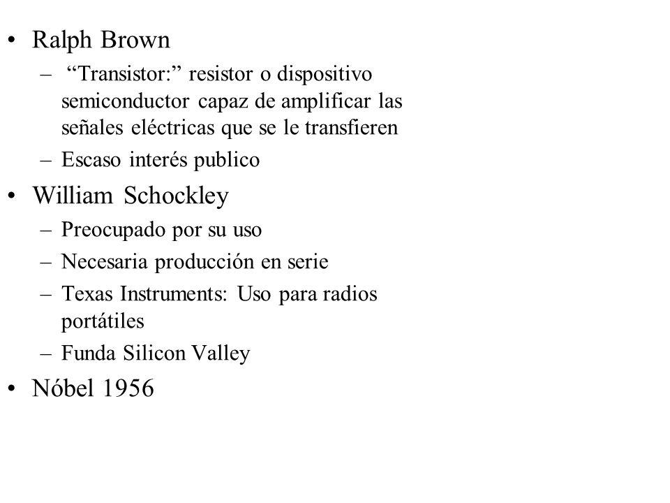 Ralph Brown – Transistor: resistor o dispositivo semiconductor capaz de amplificar las señales eléctricas que se le transfieren –Escaso interés public