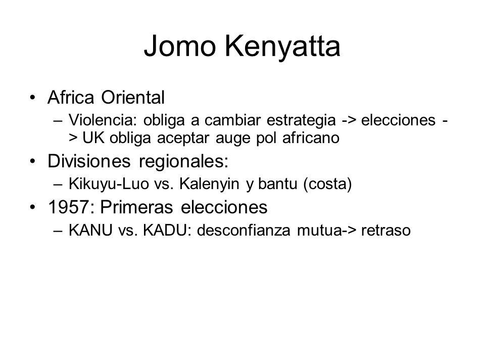 KANU: Partido Único 1963: poder a los nacionalistas –Jomo Kenyatta (1964-1978) –Salvaguardar derechos propiedad –Apaciguamiento militantes –Reparto tierras colonos emigrados 1978- Daniel arap Moi –1982: Golpe Estado fuerza aérea –1988: sistema mlolongo (hacer cola) 2002: Prohibición constitucional reelección – National Rainbow Coalition : Mwai Kǐbakǐ,
