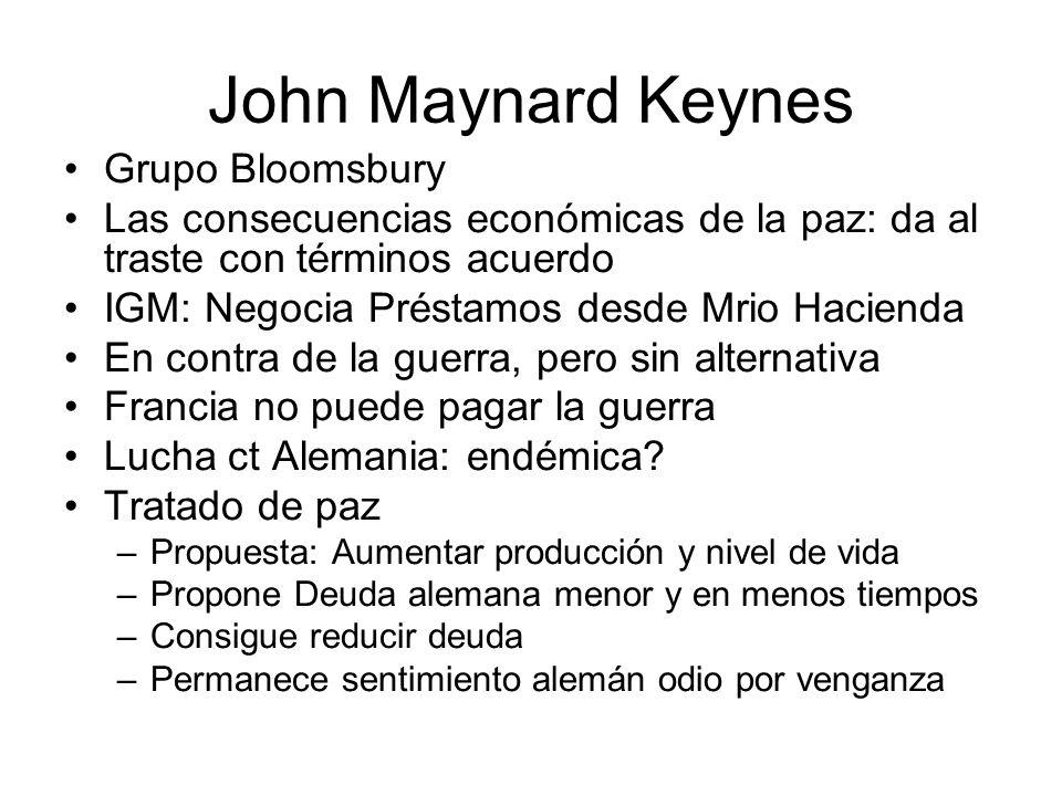 John Maynard Keynes Grupo Bloomsbury Las consecuencias económicas de la paz: da al traste con términos acuerdo IGM: Negocia Préstamos desde Mrio Hacie