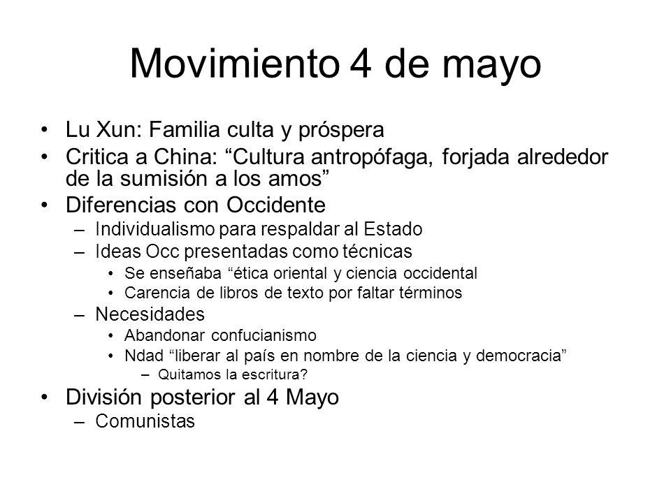 Movimiento 4 de mayo Lu Xun: Familia culta y próspera Critica a China: Cultura antropófaga, forjada alrededor de la sumisión a los amos Diferencias co