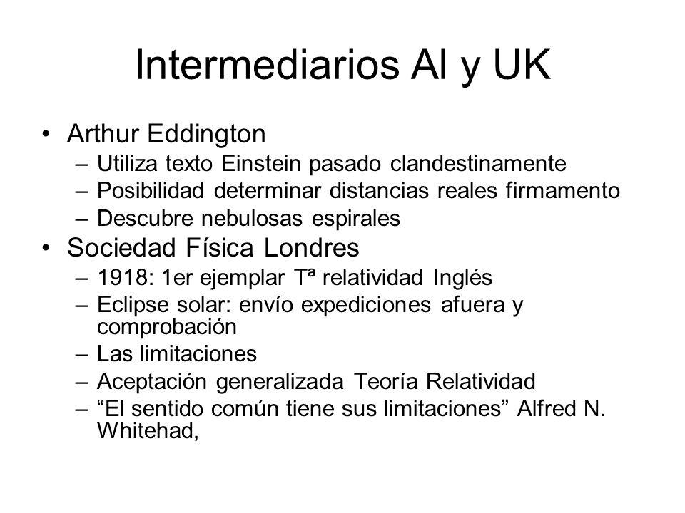 Intermediarios Al y UK Arthur Eddington –Utiliza texto Einstein pasado clandestinamente –Posibilidad determinar distancias reales firmamento –Descubre