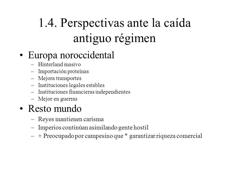 1.4. Perspectivas ante la caída antiguo régimen Europa noroccidental –Hinterland masivo –Importación proteínas –Mejora transportes –Instituciones lega