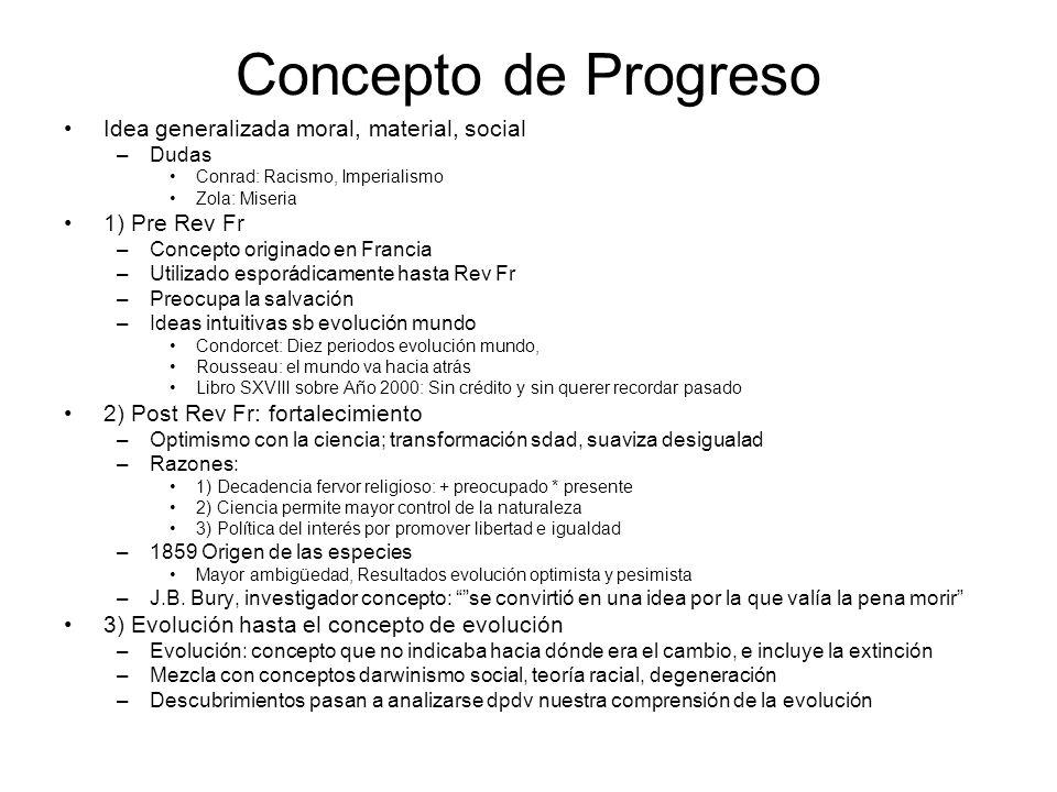 Concepto de Progreso Idea generalizada moral, material, social –Dudas Conrad: Racismo, Imperialismo Zola: Miseria 1) Pre Rev Fr –Concepto originado en