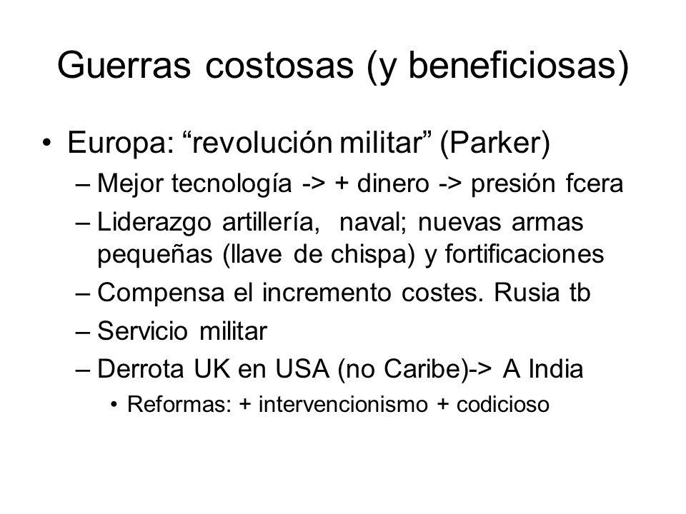 Guerras costosas (y beneficiosas) Europa: revolución militar (Parker) –Mejor tecnología -> + dinero -> presión fcera –Liderazgo artillería, naval; nue