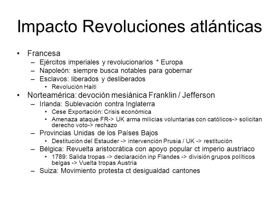 Impacto Revoluciones atlánticas Francesa –Ejércitos imperiales y revolucionarios * Europa –Napoleón: siempre busca notables para gobernar –Esclavos: l