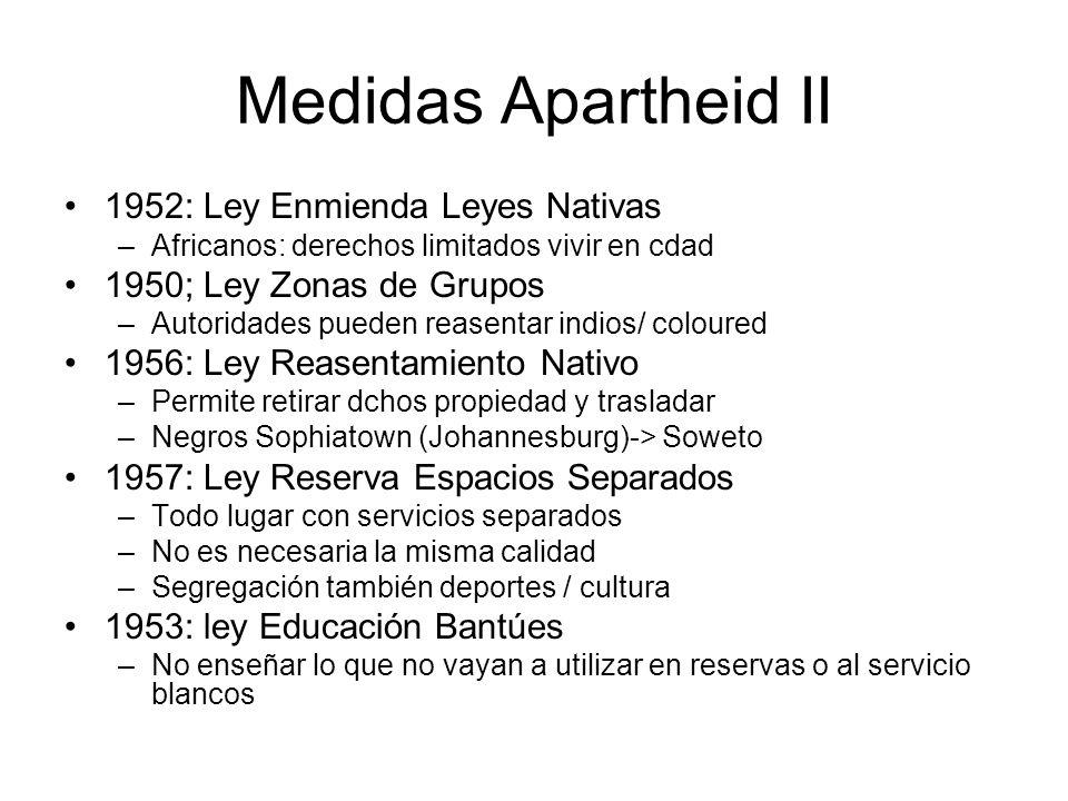 Medidas Apartheid II 1952: Ley Enmienda Leyes Nativas –Africanos: derechos limitados vivir en cdad 1950; Ley Zonas de Grupos –Autoridades pueden rease