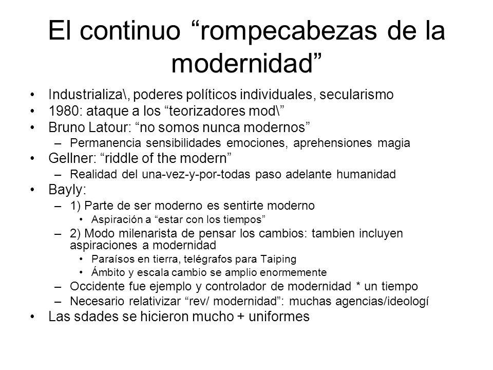 El continuo rompecabezas de la modernidad Industrializa\, poderes políticos individuales, secularismo 1980: ataque a los teorizadores mod\ Bruno Latou