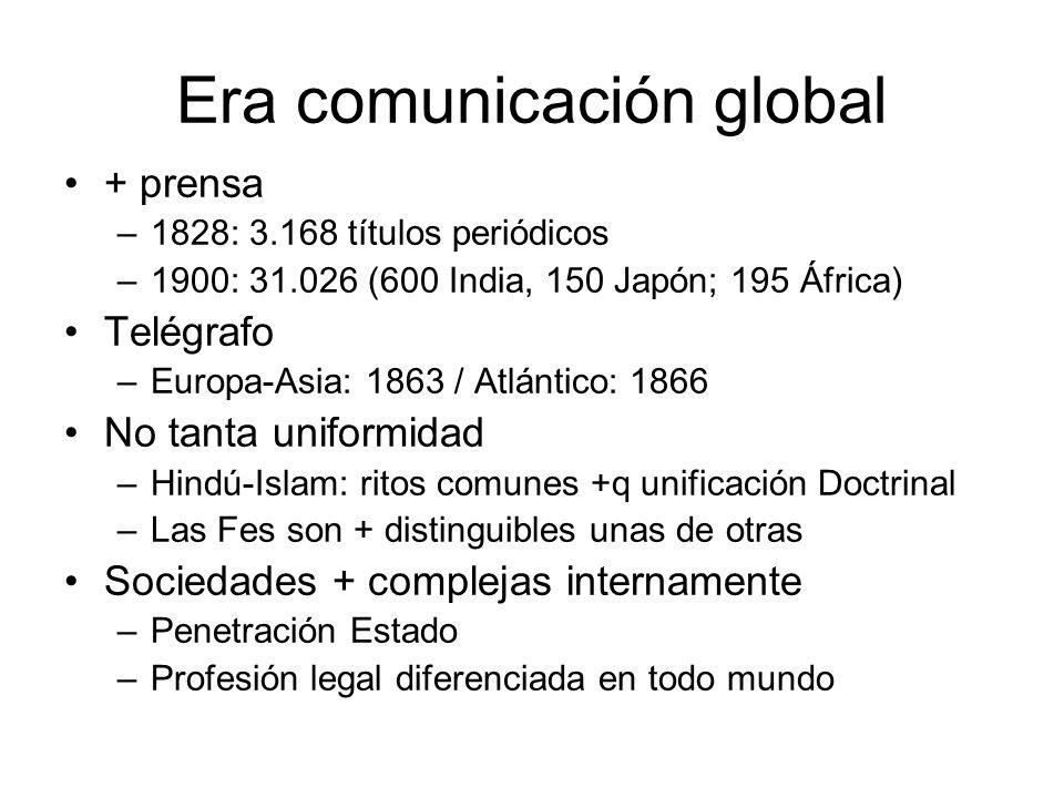 Era comunicación global + prensa –1828: 3.168 títulos periódicos –1900: 31.026 (600 India, 150 Japón; 195 África) Telégrafo –Europa-Asia: 1863 / Atlán