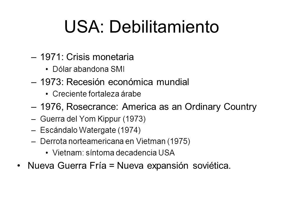 USA: Debilitamiento –1971: Crisis monetaria Dólar abandona SMI –1973: Recesión económica mundial Creciente fortaleza árabe –1976, Rosecrance: America