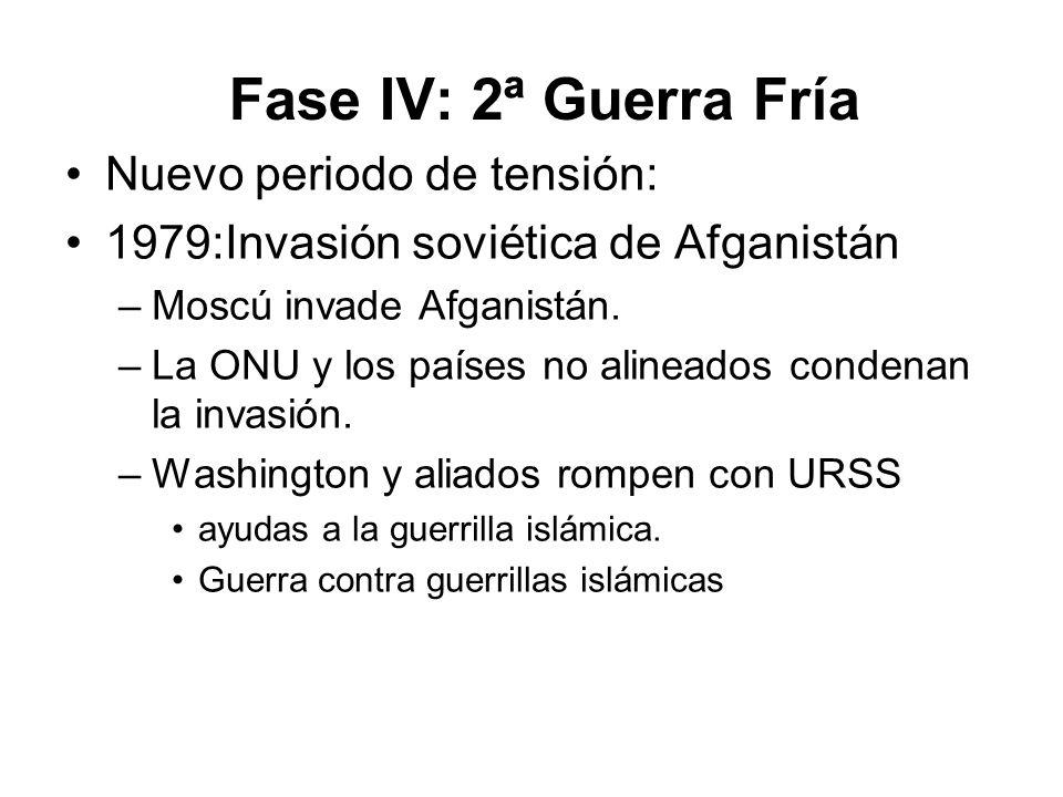 Fase IV: 2ª Guerra Fría Nuevo periodo de tensión: 1979:Invasión soviética de Afganistán –Moscú invade Afganistán. –La ONU y los países no alineados co