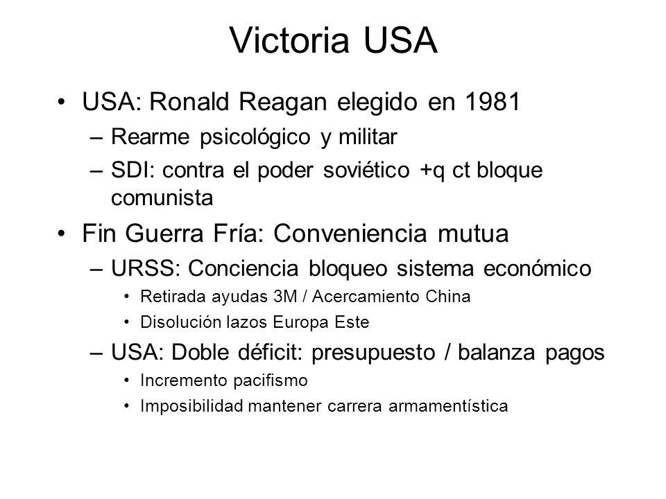 Victoria USA USA: Ronald Reagan elegido en 1981 –Rearme psicológico y militar –SDI: contra el poder soviético +q ct bloque comunista Fin Guerra Fría: