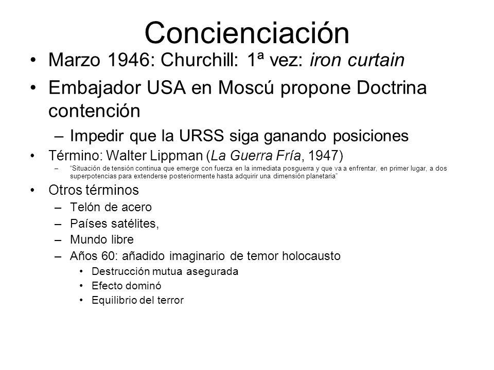 Concienciación Marzo 1946: Churchill: 1ª vez: iron curtain Embajador USA en Moscú propone Doctrina contención –Impedir que la URSS siga ganando posici