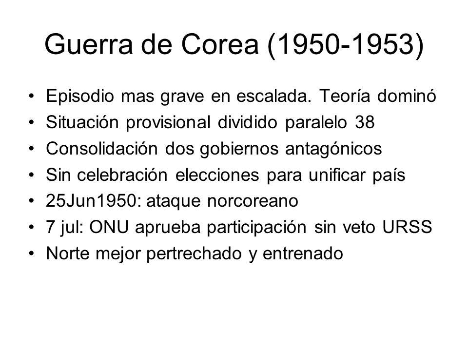 Guerra de Corea (1950-1953) Episodio mas grave en escalada. Teoría dominó Situación provisional dividido paralelo 38 Consolidación dos gobiernos antag