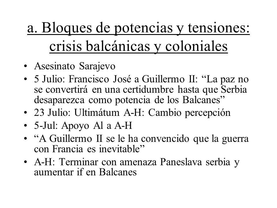 a. Bloques de potencias y tensiones: crisis balcánicas y coloniales Asesinato Sarajevo 5 Julio: Francisco José a Guillermo II: La paz no se convertirá