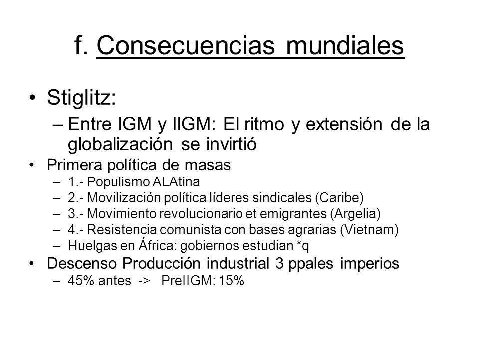 f. Consecuencias mundiales Stiglitz: –Entre IGM y IIGM: El ritmo y extensión de la globalización se invirtió Primera política de masas –1.- Populismo