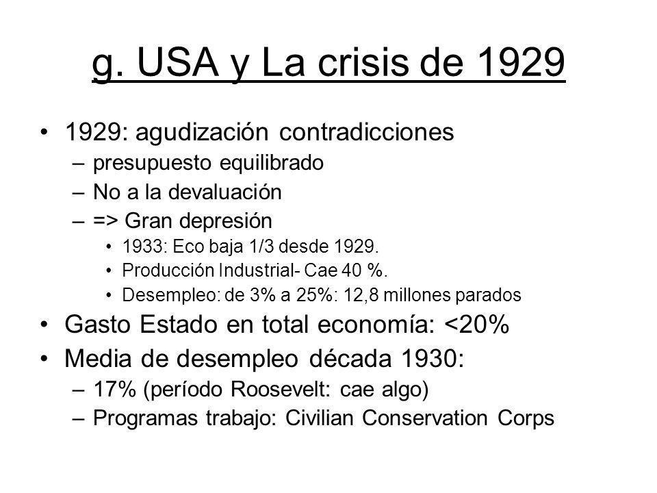 g. USA y La crisis de 1929 1929: agudización contradicciones –presupuesto equilibrado –No a la devaluación –=> Gran depresión 1933: Eco baja 1/3 desde