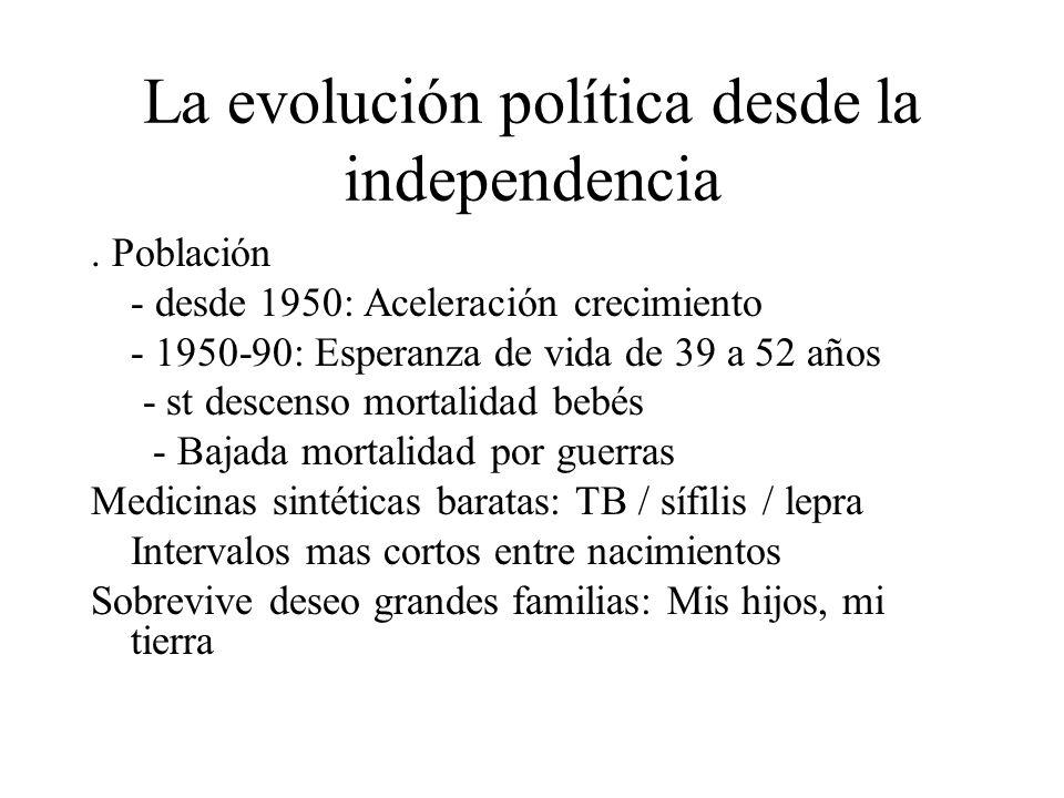 La evolución política desde la independencia. Población - desde 1950: Aceleración crecimiento - 1950-90: Esperanza de vida de 39 a 52 años - st descen
