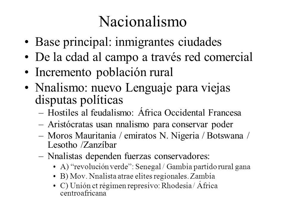 Nacionalismo Base principal: inmigrantes ciudades De la cdad al campo a través red comercial Incremento población rural Nnalismo: nuevo Lenguaje para