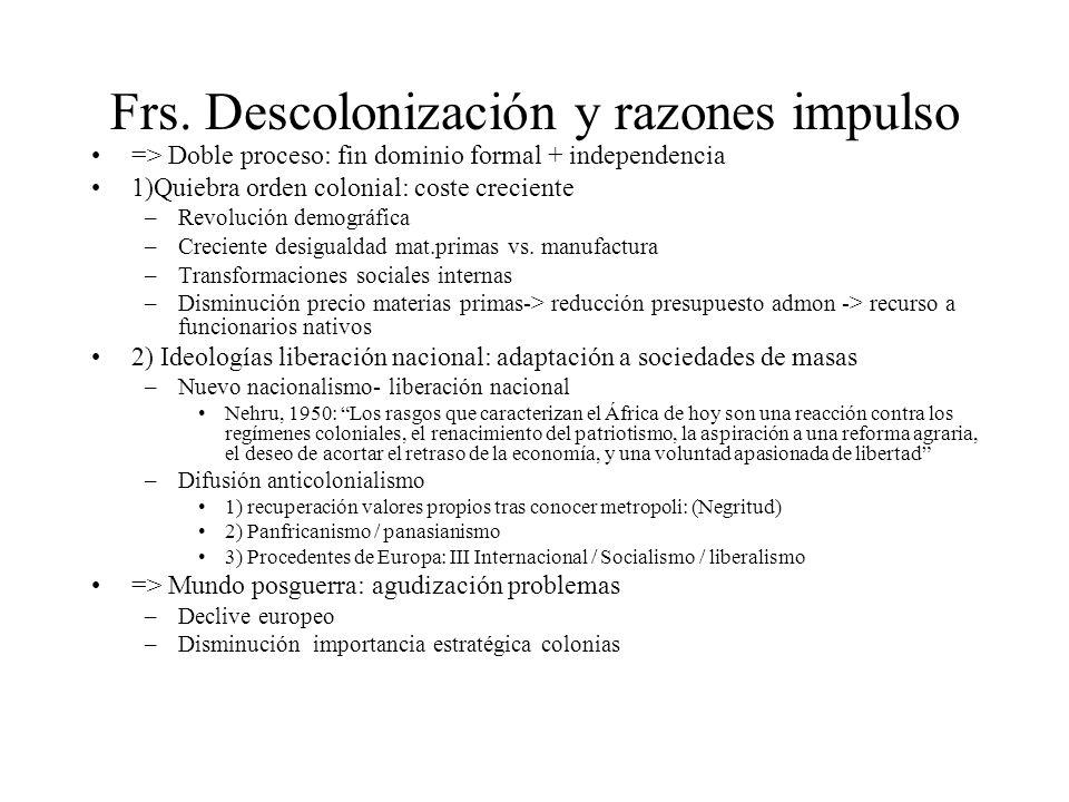 Frs. Descolonización y razones impulso => Doble proceso: fin dominio formal + independencia 1)Quiebra orden colonial: coste creciente –Revolución demo