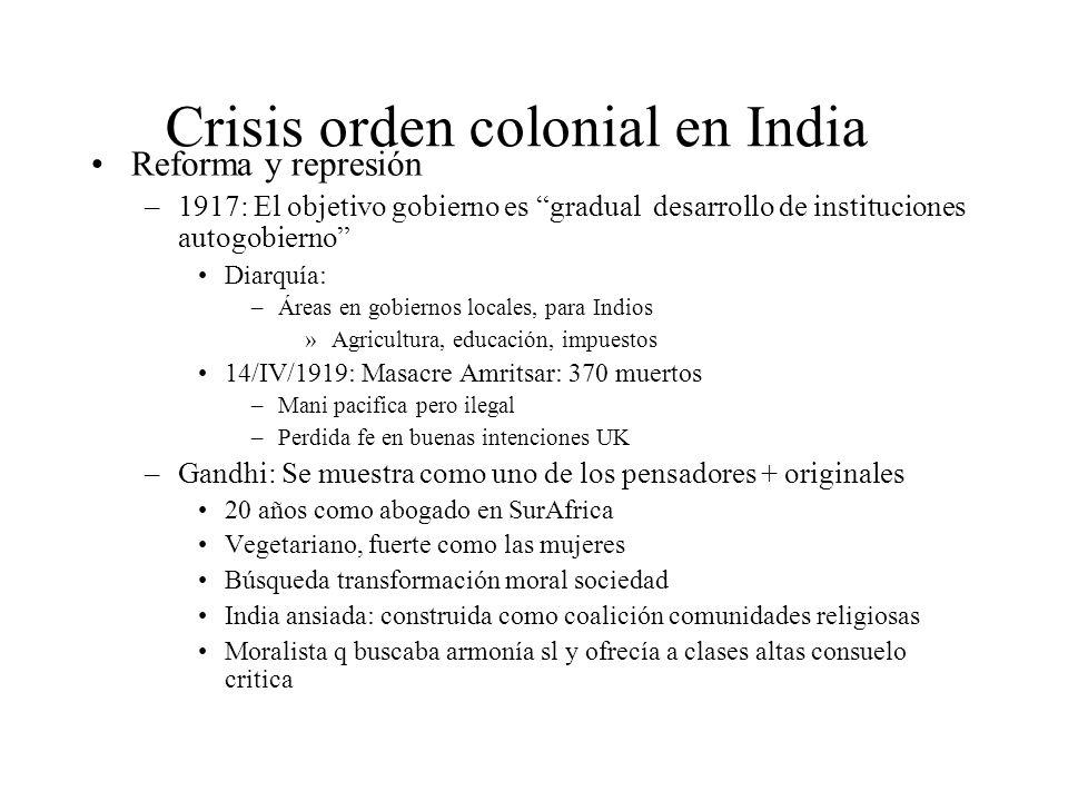 Crisis orden colonial en India Reforma y represión –1917: El objetivo gobierno es gradual desarrollo de instituciones autogobierno Diarquía: –Áreas en