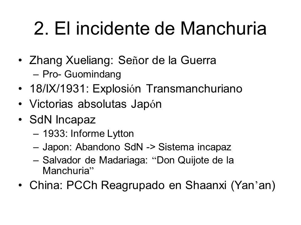 2. El incidente de Manchuria Zhang Xueliang: Se ñ or de la Guerra –Pro- Guomindang 18/IX/1931: Explosi ó n Transmanchuriano Victorias absolutas Jap ó
