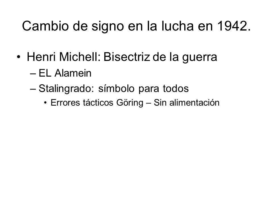 Cambio de signo en la lucha en 1942. Henri Michell: Bisectriz de la guerra –EL Alamein –Stalingrado: símbolo para todos Errores tácticos Göring – Sin