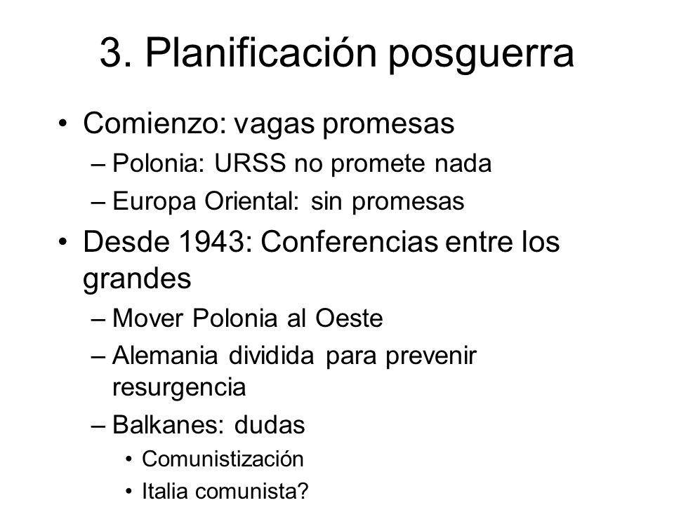 3. Planificación posguerra Comienzo: vagas promesas –Polonia: URSS no promete nada –Europa Oriental: sin promesas Desde 1943: Conferencias entre los g