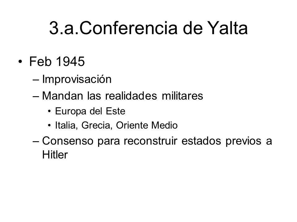 3.a.Conferencia de Yalta Feb 1945 –Improvisación –Mandan las realidades militares Europa del Este Italia, Grecia, Oriente Medio –Consenso para reconst