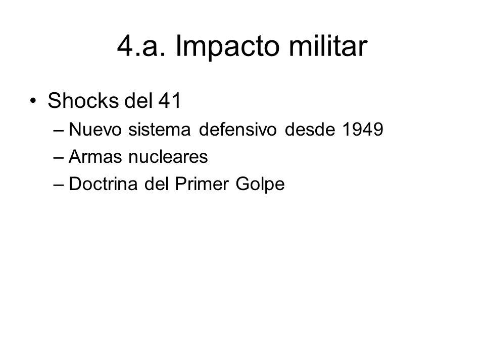 4.a. Impacto militar Shocks del 41 –Nuevo sistema defensivo desde 1949 –Armas nucleares –Doctrina del Primer Golpe