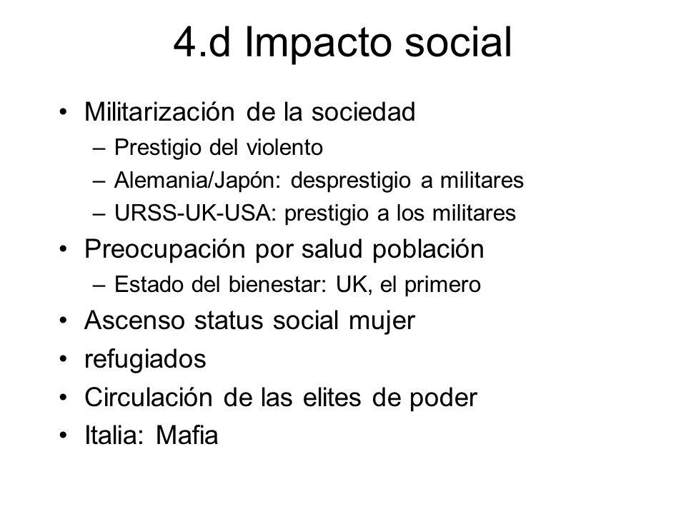 4.d Impacto social Militarización de la sociedad –Prestigio del violento –Alemania/Japón: desprestigio a militares –URSS-UK-USA: prestigio a los milit