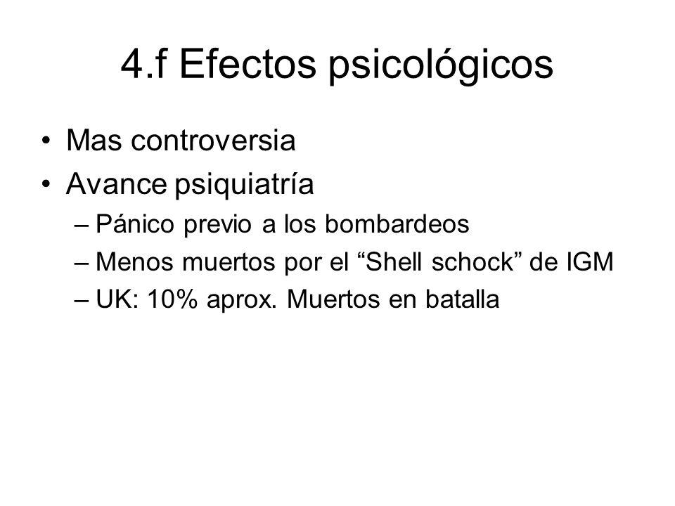4.f Efectos psicológicos Mas controversia Avance psiquiatría –Pánico previo a los bombardeos –Menos muertos por el Shell schock de IGM –UK: 10% aprox.