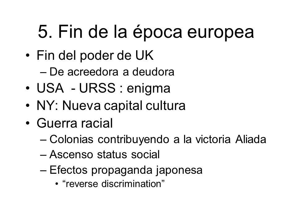 5. Fin de la época europea Fin del poder de UK –De acreedora a deudora USA - URSS : enigma NY: Nueva capital cultura Guerra racial –Colonias contribuy