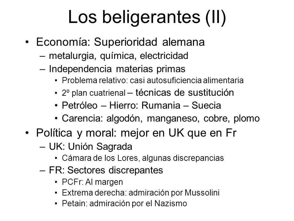 Los beligerantes (II) Economía: Superioridad alemana –metalurgia, química, electricidad –Independencia materias primas Problema relativo: casi autosuf