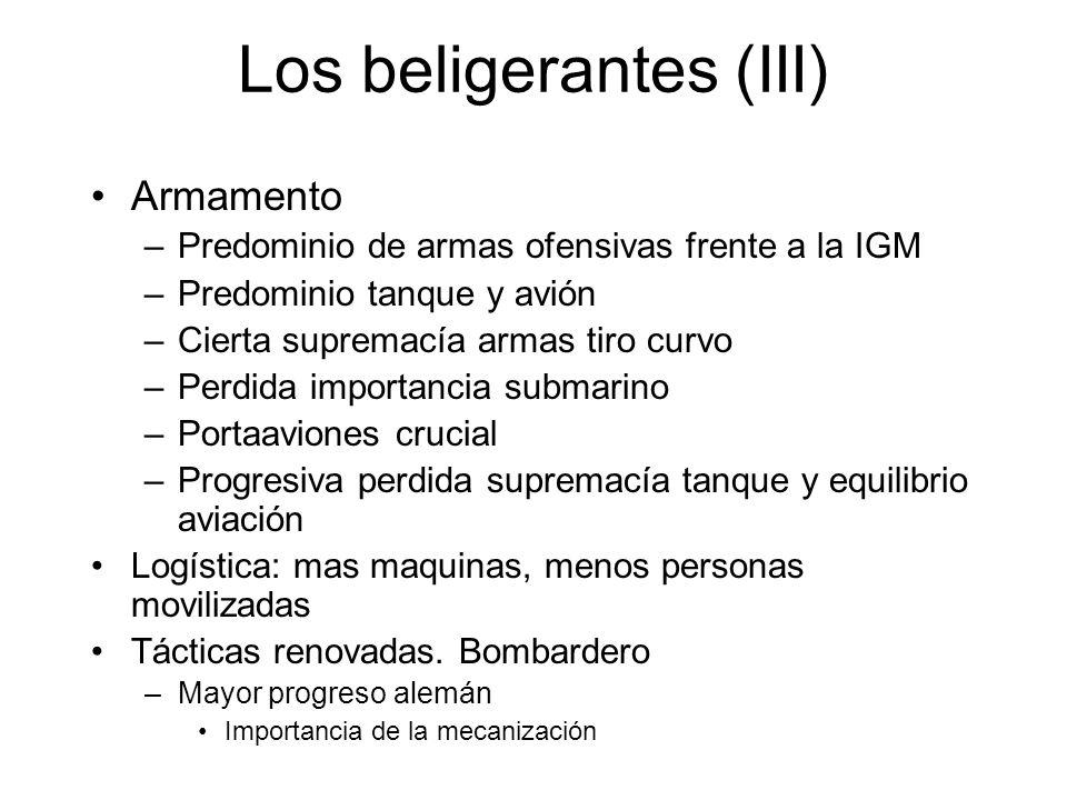 Los beligerantes (III) Armamento –Predominio de armas ofensivas frente a la IGM –Predominio tanque y avión –Cierta supremacía armas tiro curvo –Perdid