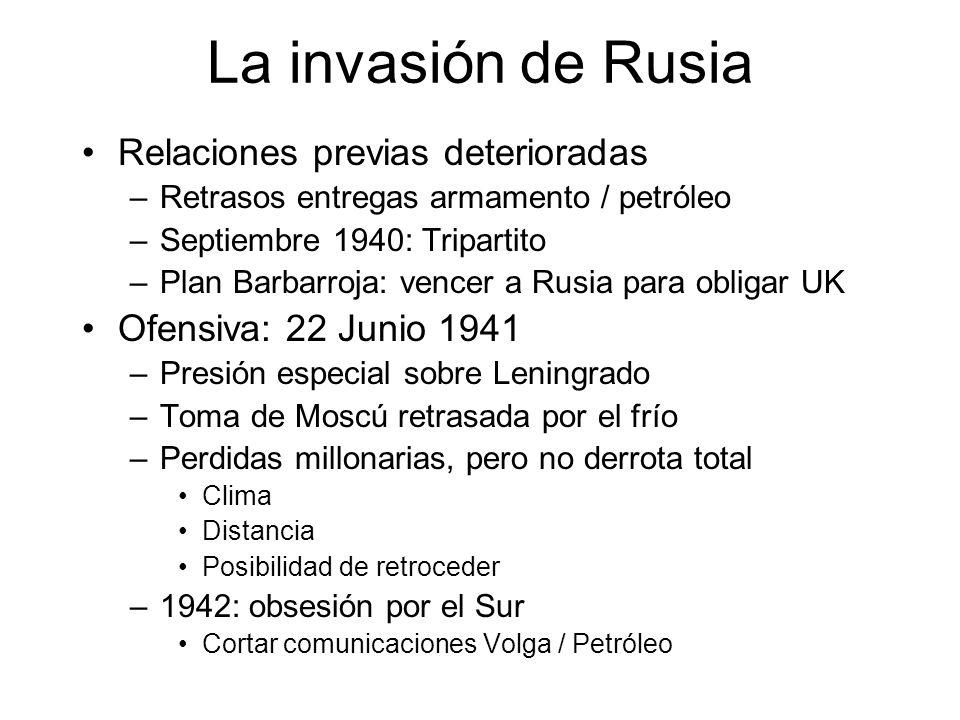 La invasión de Rusia Relaciones previas deterioradas –Retrasos entregas armamento / petróleo –Septiembre 1940: Tripartito –Plan Barbarroja: vencer a R