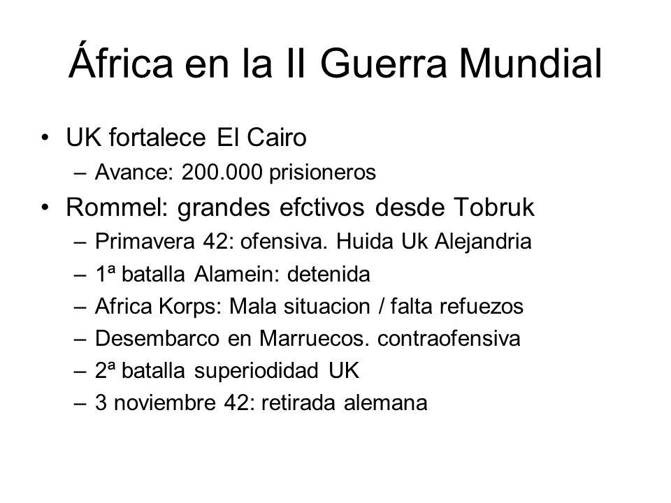África en la II Guerra Mundial UK fortalece El Cairo –Avance: 200.000 prisioneros Rommel: grandes efctivos desde Tobruk –Primavera 42: ofensiva. Huida